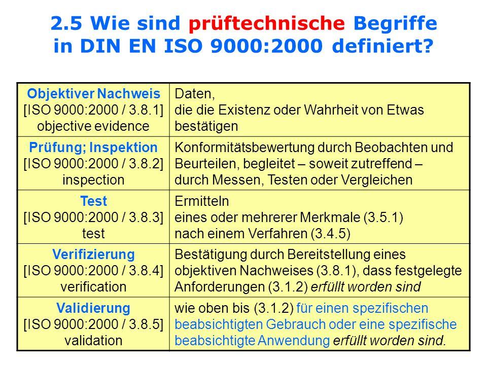 2.5 Wie sind prüftechnische Begriffe in DIN EN ISO 9000:2000 definiert? Objektiver Nachweis [ISO 9000:2000 / 3.8.1] objective evidence Daten, die die