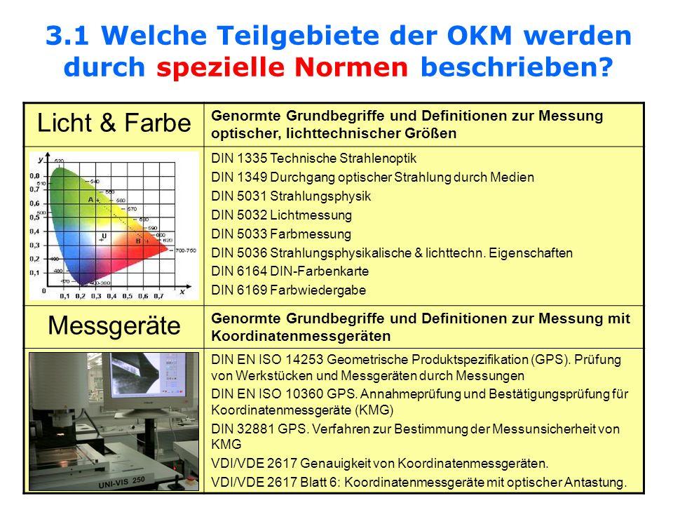 3.1 Welche Teilgebiete der OKM werden durch spezielle Normen beschrieben? Licht & Farbe Genormte Grundbegriffe und Definitionen zur Messung optischer,
