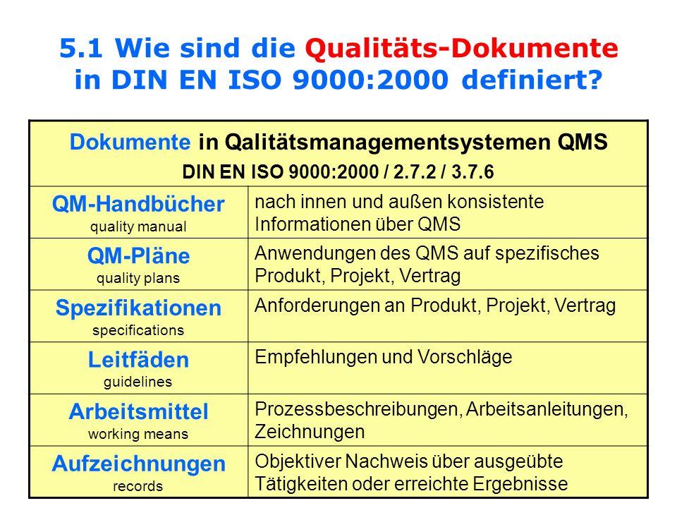 5.1 Wie sind die Qualitäts-Dokumente in DIN EN ISO 9000:2000 definiert? Dokumente in Qalitätsmanagementsystemen QMS DIN EN ISO 9000:2000 / 2.7.2 / 3.7