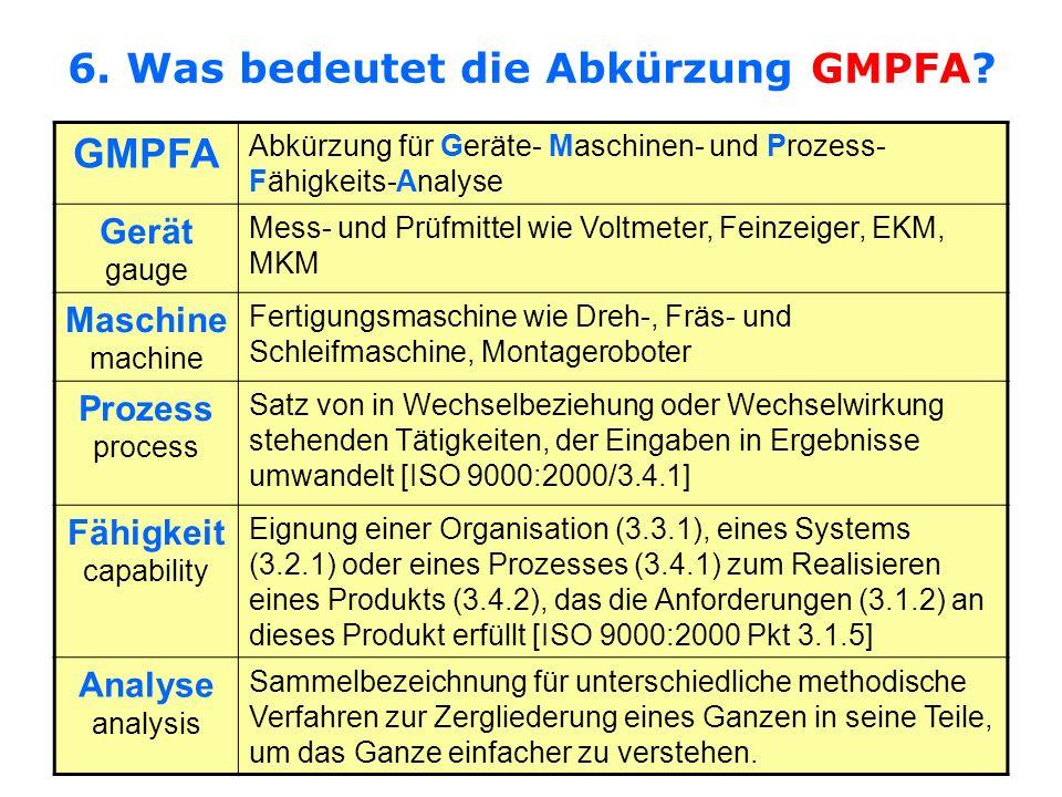 6. Was bedeutet die Abkürzung GMPFA? GMPFA Abkürzung für Geräte- Maschinen- und Prozess- Fähigkeits-Analyse Gerät gauge Mess- und Prüfmittel wie Voltm