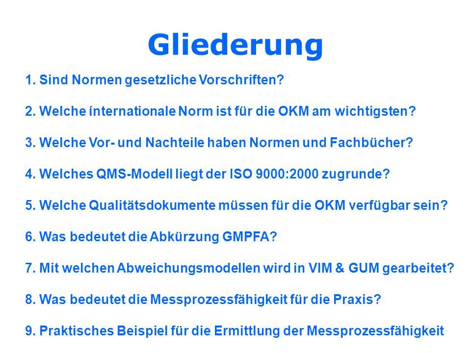 Gliederung 1. Sind Normen gesetzliche Vorschriften? 2. Welche ínternationale Norm ist für die OKM am wichtigsten? 3. Welche Vor- und Nachteile haben N