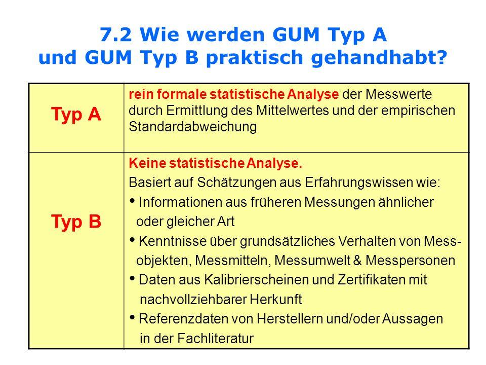 7.2 Wie werden GUM Typ A und GUM Typ B praktisch gehandhabt? Typ A rein formale statistische Analyse der Messwerte durch Ermittlung des Mittelwertes u