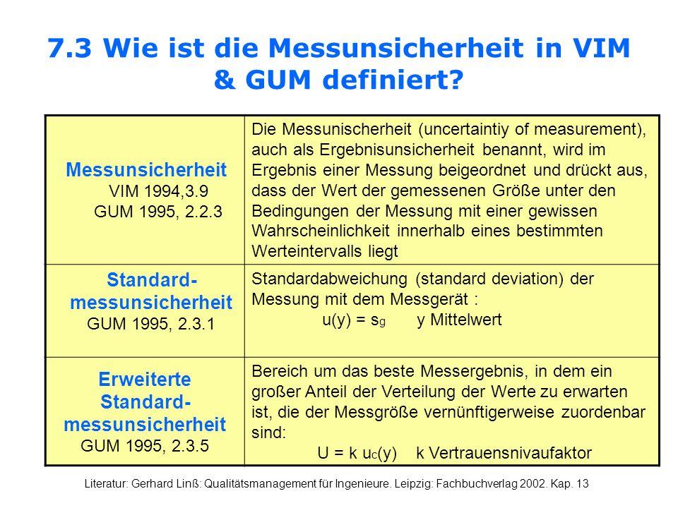7.3 Wie ist die Messunsicherheit in VIM & GUM definiert? Messunsicherheit VIM 1994,3.9 GUM 1995, 2.2.3 Die Messunischerheit (uncertaintiy of measureme