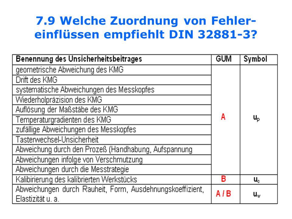 7.9 Welche Zuordnung von Fehler- einflüssen empfiehlt DIN 32881-3?