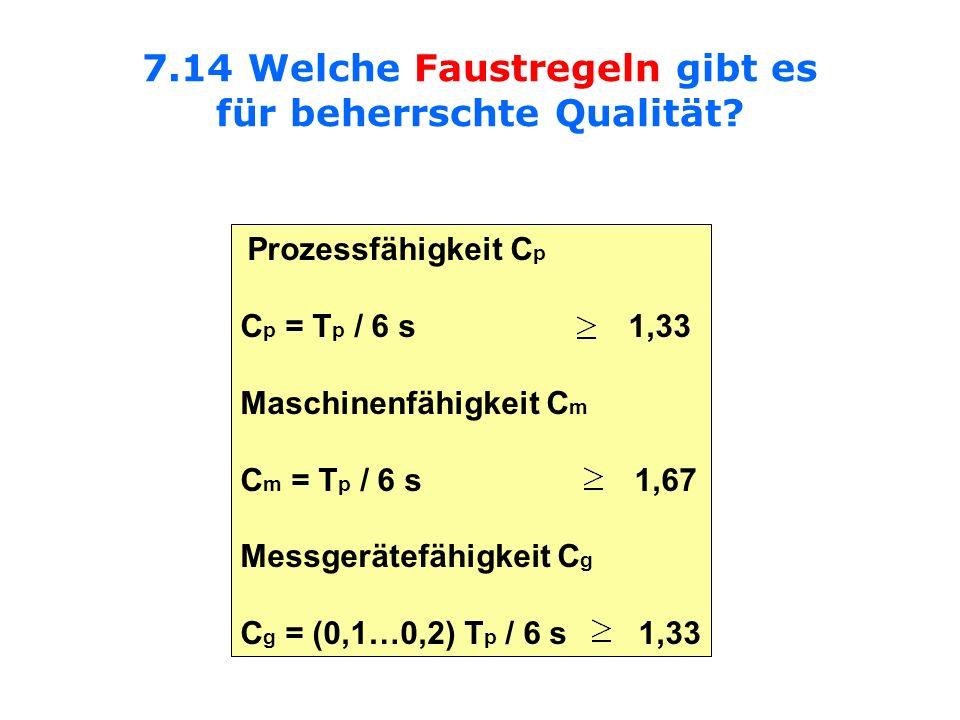 7.14 Welche Faustregeln gibt es für beherrschte Qualität? Prozessfähigkeit C p C p = T p / 6 s 1,33 Maschinenfähigkeit C m C m = T p / 6 s 1,67 Messge