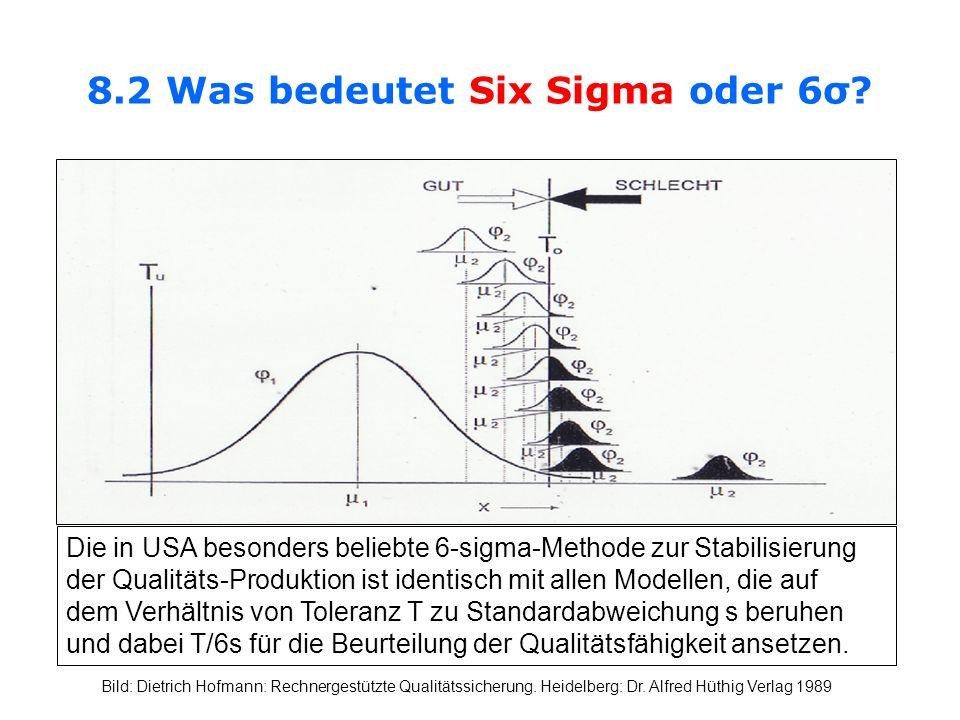 8.2 Was bedeutet Six Sigma oder 6σ? Die in USA besonders beliebte 6-sigma-Methode zur Stabilisierung der Qualitäts-Produktion ist identisch mit allen
