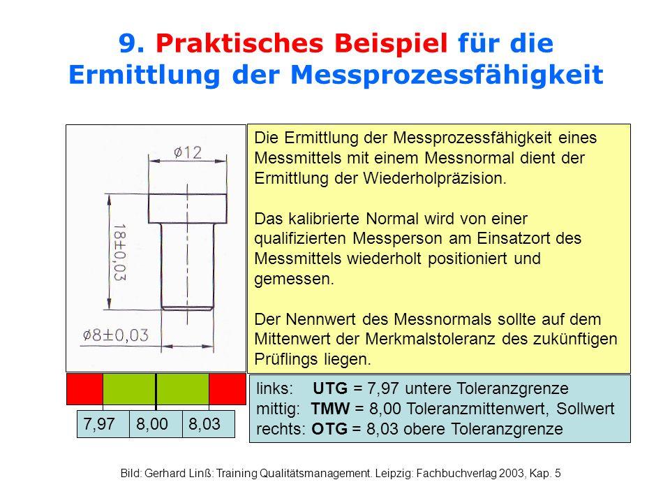 9. Praktisches Beispiel für die Ermittlung der Messprozessfähigkeit Die Ermittlung der Messprozessfähigkeit eines Messmittels mit einem Messnormal die