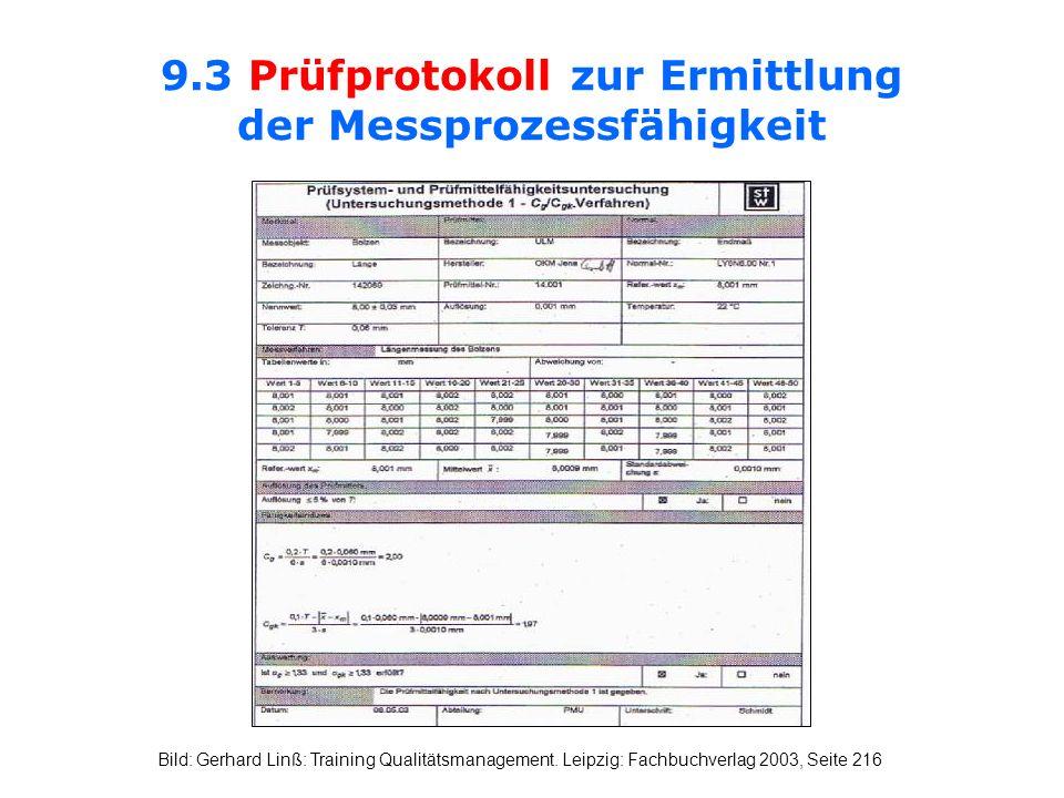 9.3 Prüfprotokoll zur Ermittlung der Messprozessfähigkeit Bild: Gerhard Linß: Training Qualitätsmanagement. Leipzig: Fachbuchverlag 2003, Seite 216