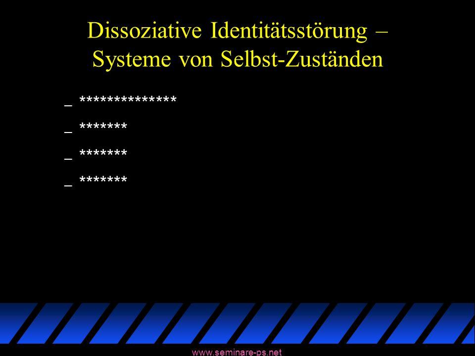 www.seminare-ps.net Dissoziative Identitätsstörung – Systeme von Selbst-Zuständen – ************** – *******