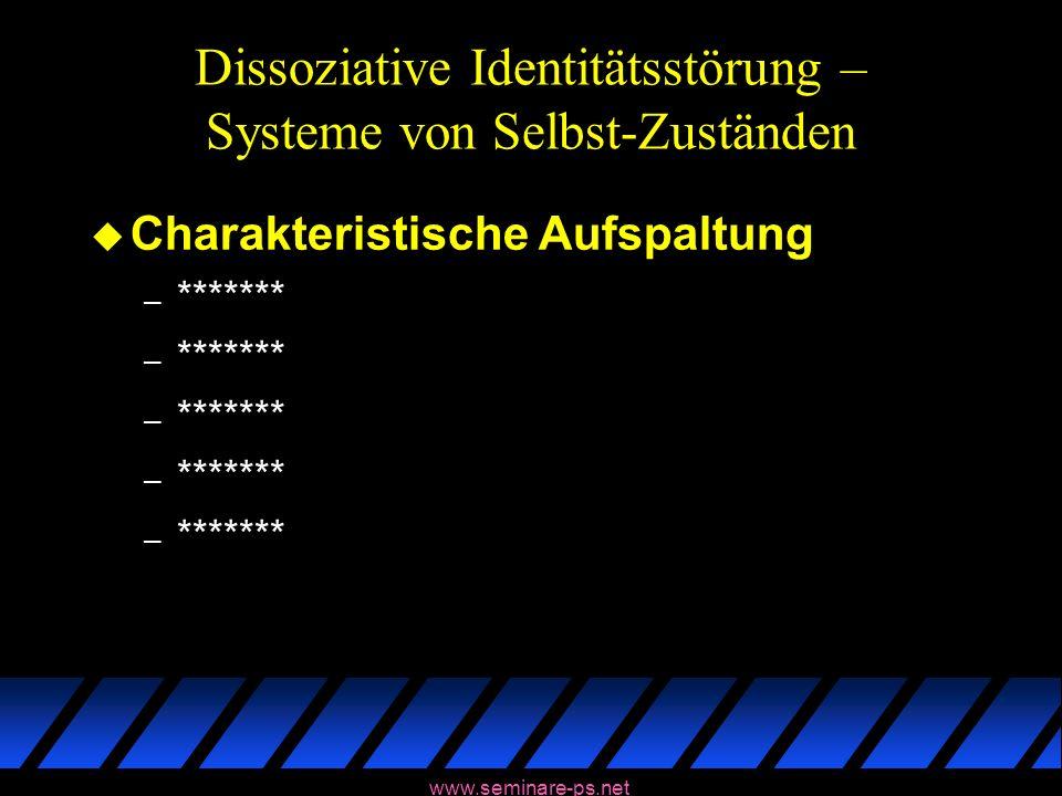 www.seminare-ps.net Dissoziative Identitätsstörung – Systeme von Selbst-Zuständen u Charakteristische Aufspaltung – *******