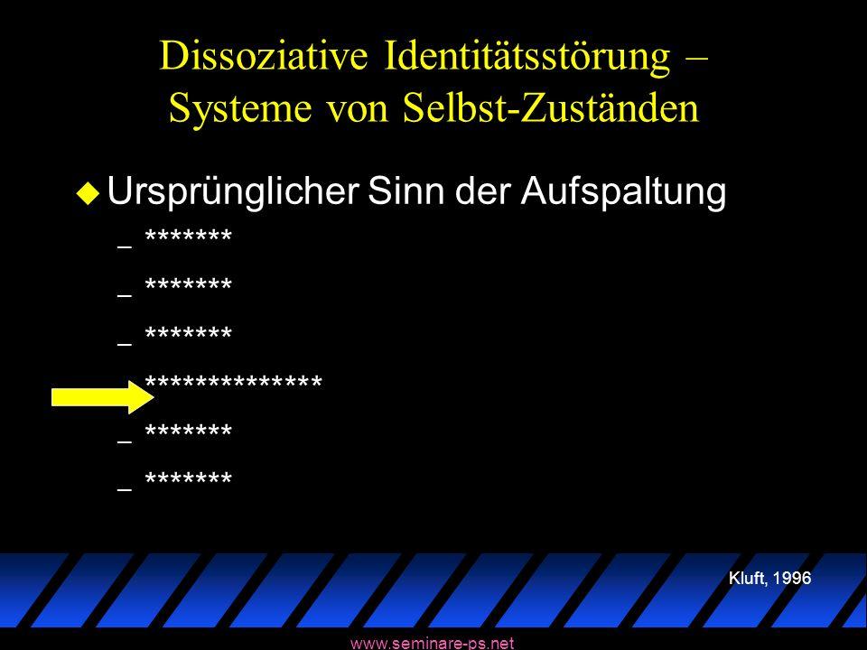www.seminare-ps.net Dissoziative Identitätsstörung – Systeme von Selbst-Zuständen u Ursprünglicher Sinn der Aufspaltung – ******* – ************** – *