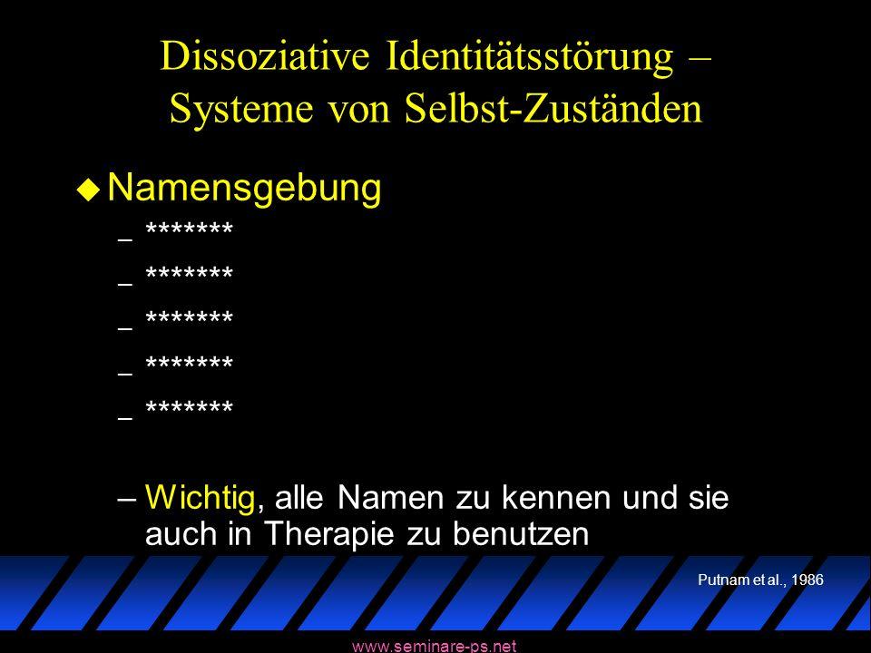 www.seminare-ps.net Dissoziative Identitätsstörung – Systeme von Selbst-Zuständen u Namensgebung – ******* –Wichtig, alle Namen zu kennen und sie auch
