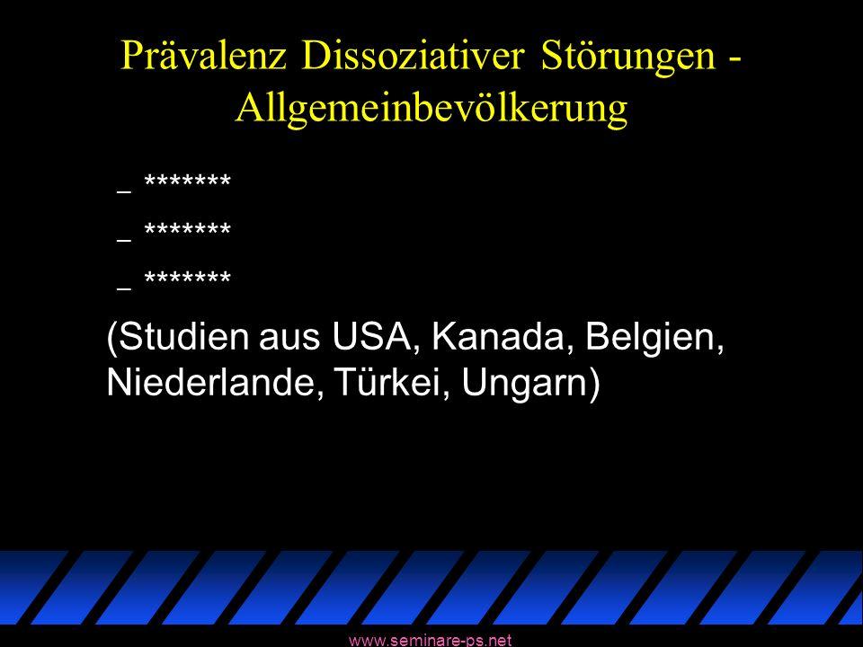 www.seminare-ps.net Prävalenz Dissoziativer Störungen - Allgemeinbevölkerung – ******* (Studien aus USA, Kanada, Belgien, Niederlande, Türkei, Ungarn)