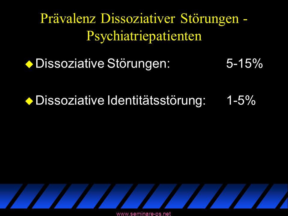 www.seminare-ps.net Prävalenz Dissoziativer Störungen - Psychiatriepatienten u Dissoziative Störungen:5-15% u Dissoziative Identitätsstörung:1-5%