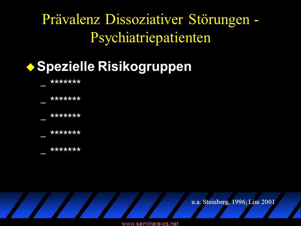 www.seminare-ps.net Prävalenz Dissoziativer Störungen - Psychiatriepatienten u Spezielle Risikogruppen – ******* u.a. Steinberg, 1996; Liss 2001