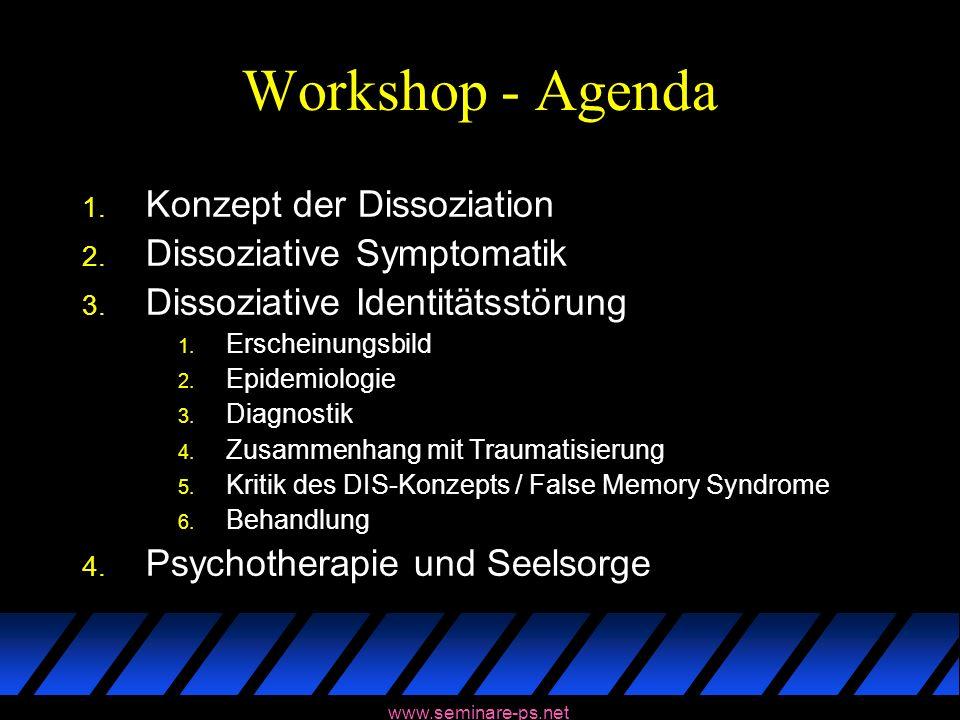 Workshop - Agenda 1. Konzept der Dissoziation 2. Dissoziative Symptomatik 3. Dissoziative Identitätsstörung 1. Erscheinungsbild 2. Epidemiologie 3. Di