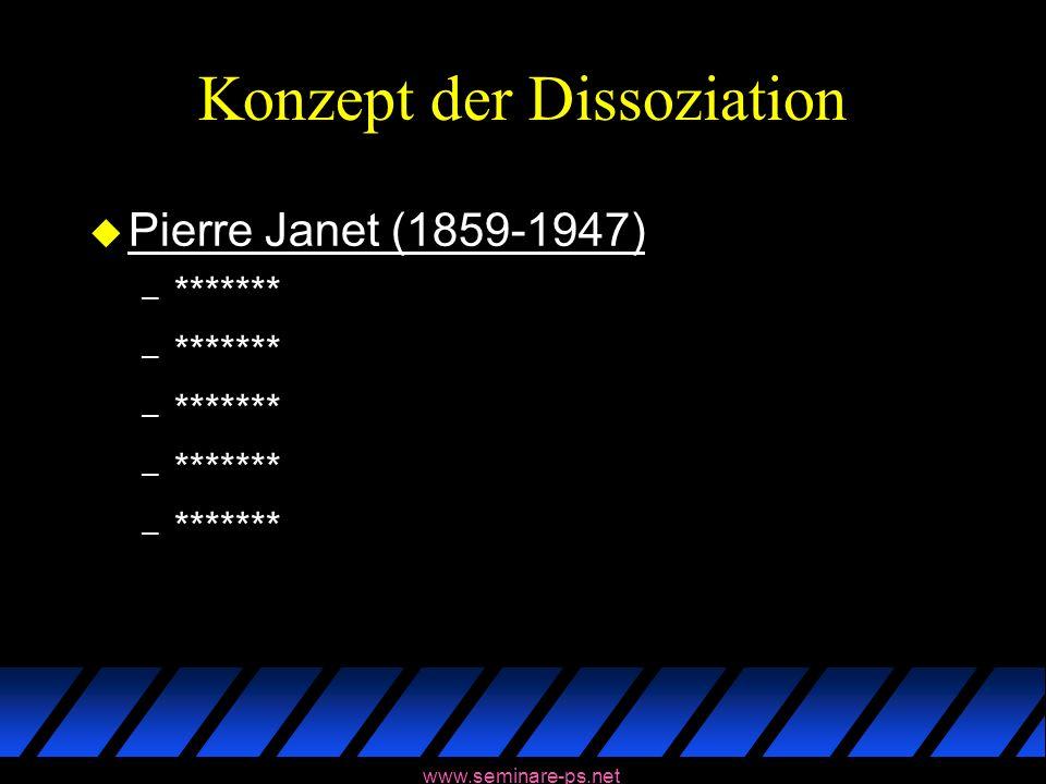 www.seminare-ps.net Konzept der Dissoziation u Pierre Janet (1859-1947) – *******