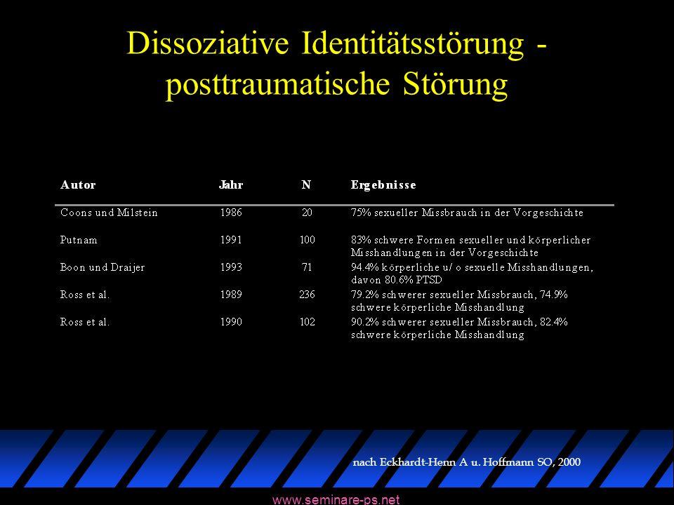 www.seminare-ps.net Dissoziative Identitätsstörung - posttraumatische Störung nach Eckhardt-Henn A u. Hoffmann SO, 2000