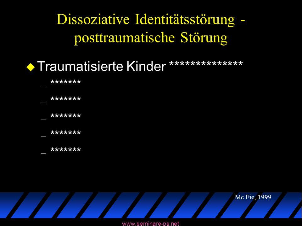 www.seminare-ps.net Dissoziative Identitätsstörung - posttraumatische Störung u Traumatisierte Kinder ************** – ******* Mc Fie, 1999