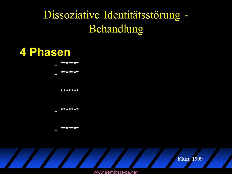 www.seminare-ps.net Dissoziative Identitätsstörung - Behandlung 4 Phasen – ******* Kluft, 1999