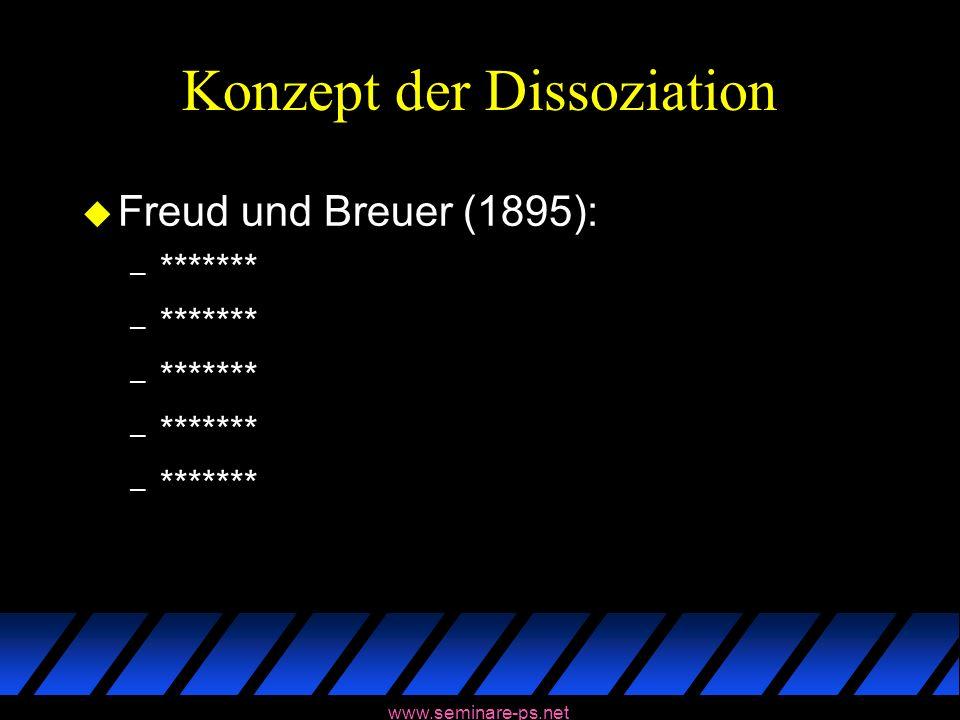 www.seminare-ps.net Konzept der Dissoziation u Freud und Breuer (1895): – *******