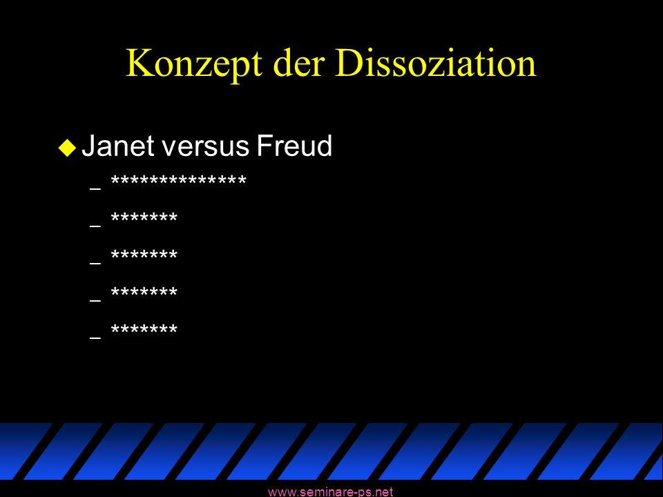 www.seminare-ps.net Konzept der Dissoziation u Janet versus Freud – ************** – *******