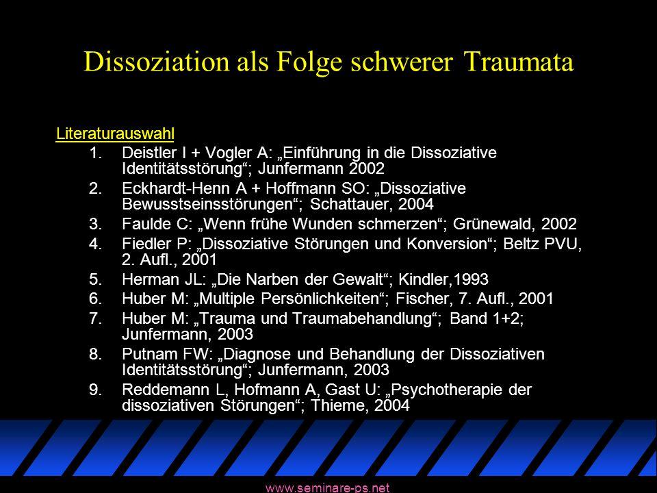 www.seminare-ps.net Dissoziation als Folge schwerer Traumata Literaturauswahl 1.Deistler I + Vogler A: Einführung in die Dissoziative Identitätsstörun