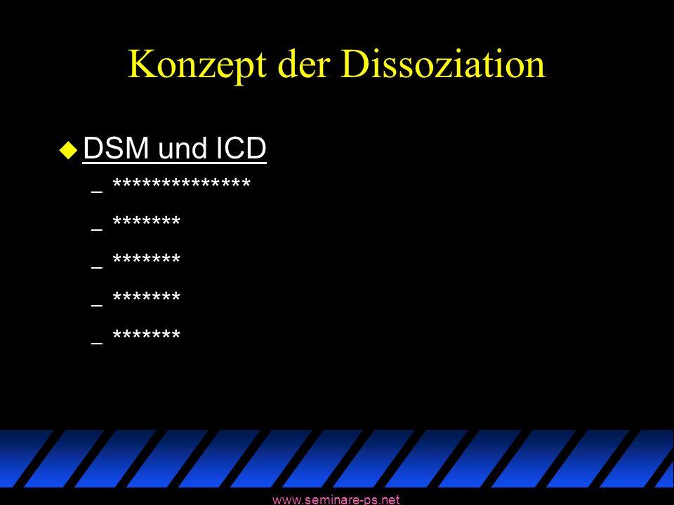 www.seminare-ps.net Konzept der Dissoziation u DSM und ICD – ************** – *******
