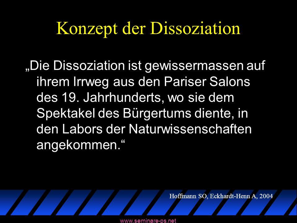 www.seminare-ps.net Konzept der Dissoziation Die Dissoziation ist gewissermassen auf ihrem Irrweg aus den Pariser Salons des 19. Jahrhunderts, wo sie