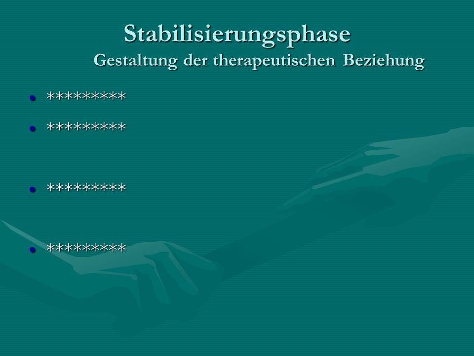 Stabilisierungsphase Gestaltung der therapeutischen Beziehung ******************
