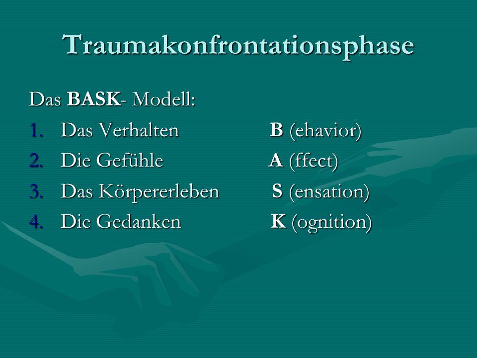 Traumakonfrontationsphase Das BASK- Modell: 1.Das Verhalten B (ehavior) 2.Die Gefühle A (ffect) 3.Das Körpererleben S (ensation) 4.Die Gedanken K (ogn