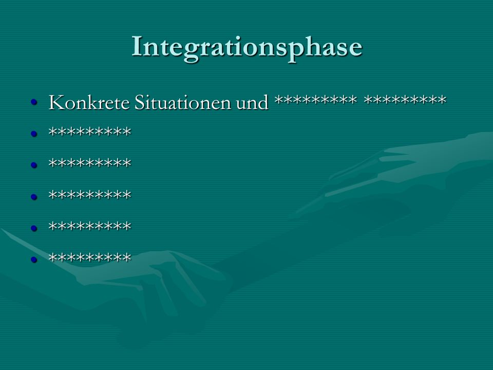 Integrationsphase Konkrete Situationen und ********* *********Konkrete Situationen und ********* ********* ******************