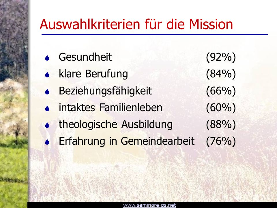 www.seminare-ps.net Auswahlkriterien für die Mission S Gesundheit (92%) S klare Berufung (84%) S Beziehungsfähigkeit (66%) S intaktes Familienleben (60%) S theologische Ausbildung (88%) S Erfahrung in Gemeindearbeit (76%)