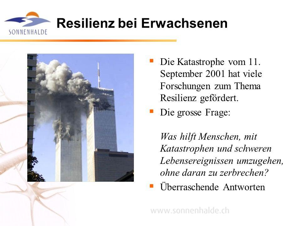 Resilienz bei Erwachsenen Die Katastrophe vom 11. September 2001 hat viele Forschungen zum Thema Resilienz gefördert. Die grosse Frage: Was hilft Mens