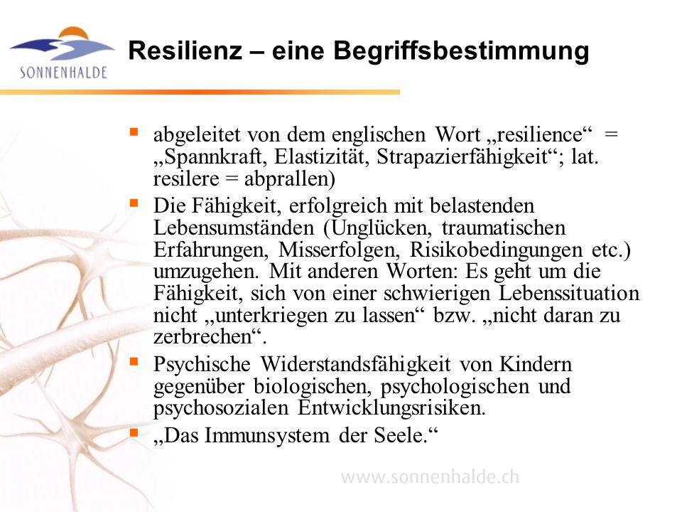 Resilienz – eine Begriffsbestimmung abgeleitet von dem englischen Wort resilience = Spannkraft, Elastizität, Strapazierfähigkeit; lat. resilere = abpr