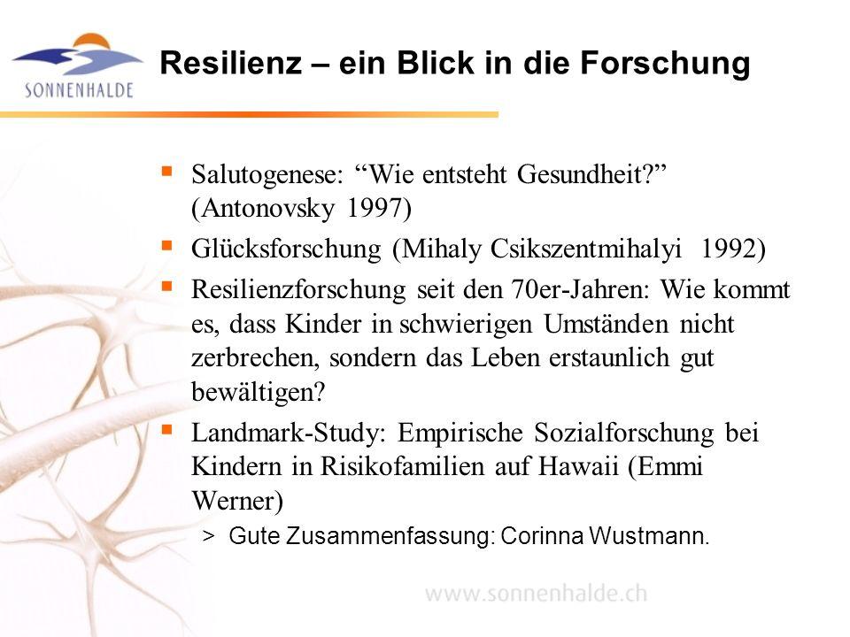 Resilienz – ein Blick in die Forschung Salutogenese: Wie entsteht Gesundheit? (Antonovsky 1997) Glücksforschung (Mihaly Csikszentmihalyi 1992) Resilie