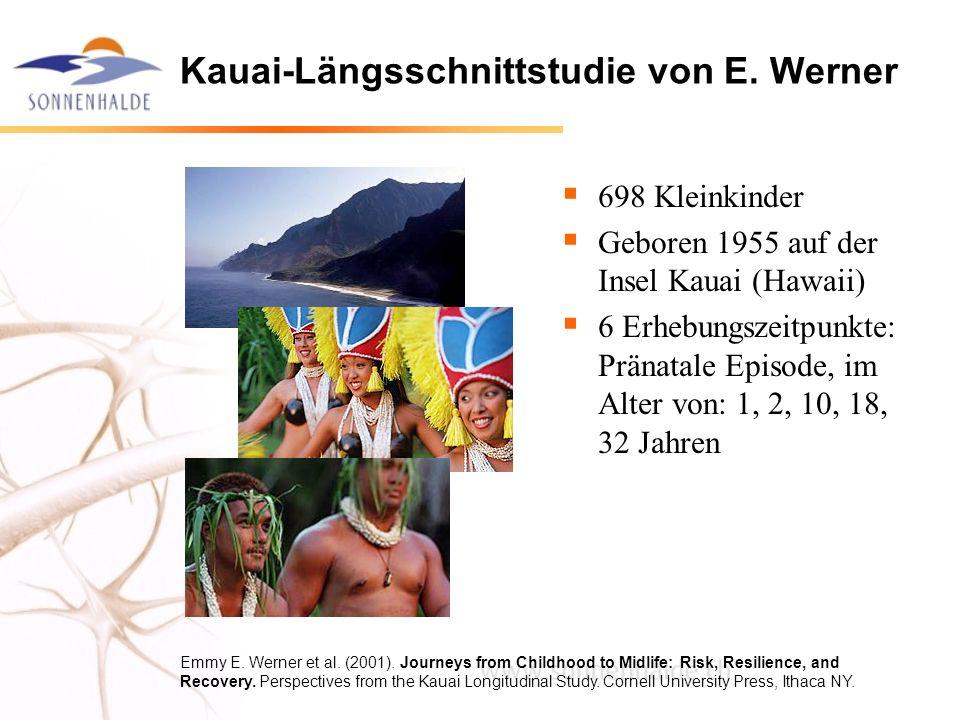 Kauai-Längsschnittstudie von E. Werner 698 Kleinkinder Geboren 1955 auf der Insel Kauai (Hawaii) 6 Erhebungszeitpunkte: Pränatale Episode, im Alter vo