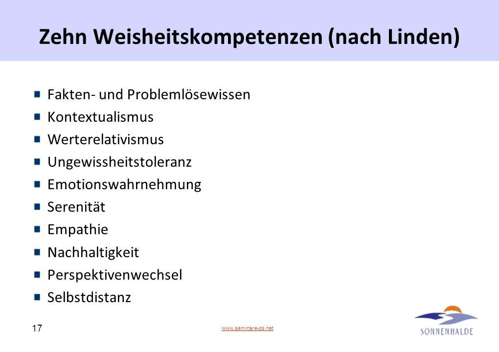 www.seminare-ps.net 17 Zehn Weisheitskompetenzen (nach Linden) Fakten- und Problemlösewissen Kontextualismus Werterelativismus Ungewissheitstoleranz E