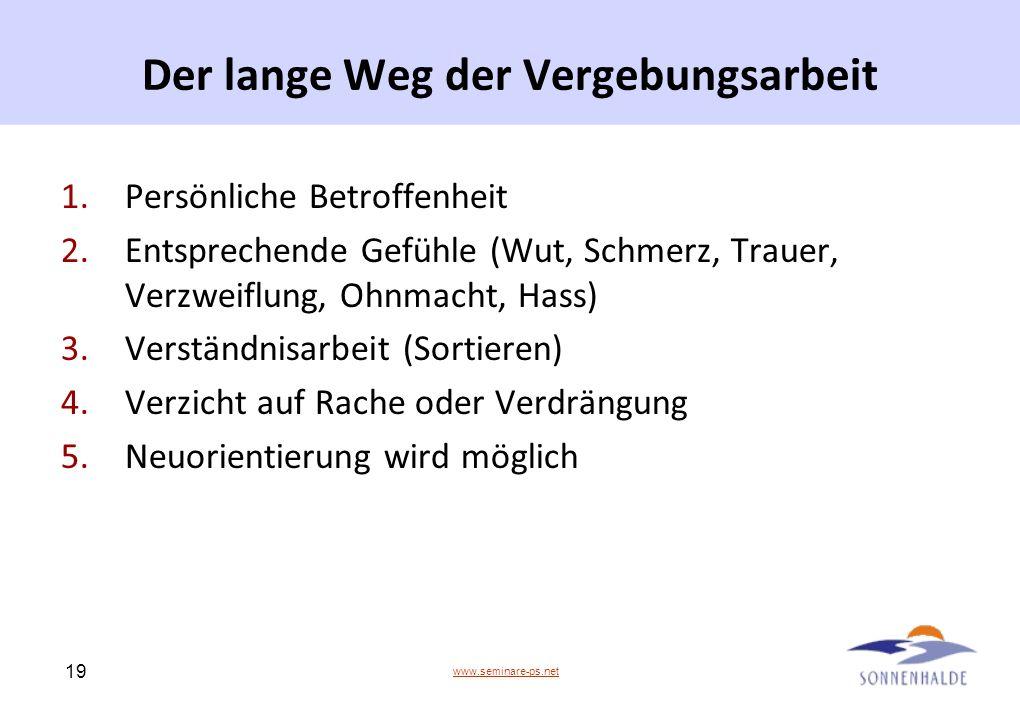 www.seminare-ps.net 19 Der lange Weg der Vergebungsarbeit 1.Persönliche Betroffenheit 2.Entsprechende Gefühle (Wut, Schmerz, Trauer, Verzweiflung, Ohn