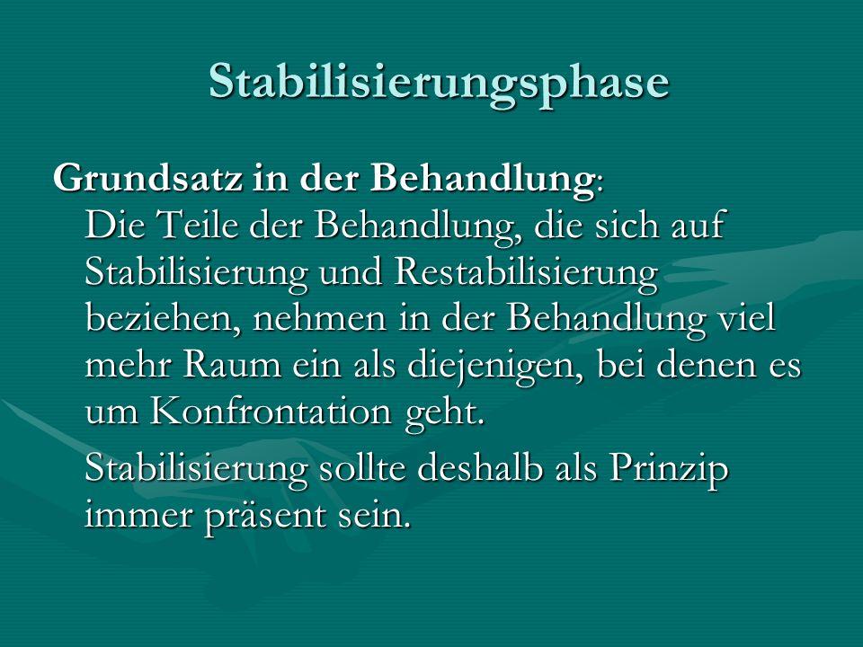 Stabilisierungsphase Stabilisierungsphase Grundsatz in der Behandlung : Die Teile der Behandlung, die sich auf Stabilisierung und Restabilisierung bez