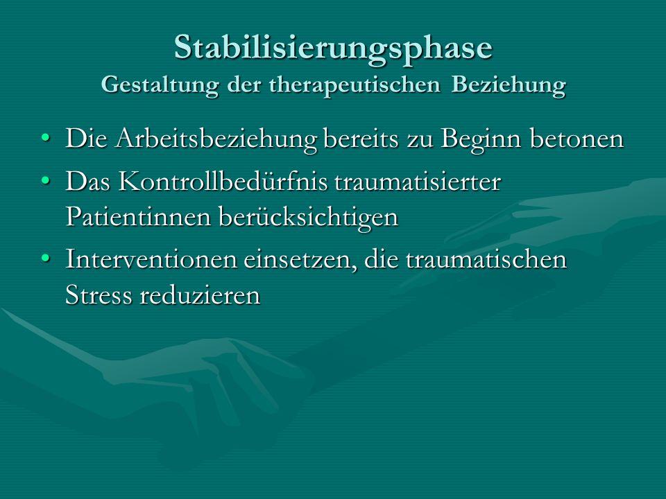 Stabilisierungsphase Gestaltung der therapeutischen Beziehung Die Arbeitsbeziehung bereits zu Beginn betonenDie Arbeitsbeziehung bereits zu Beginn bet