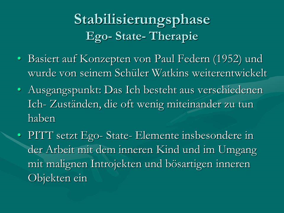 Stabilisierungsphase Ego- State- Therapie Basiert auf Konzepten von Paul Federn (1952) und wurde von seinem Schüler Watkins weiterentwickeltBasiert au