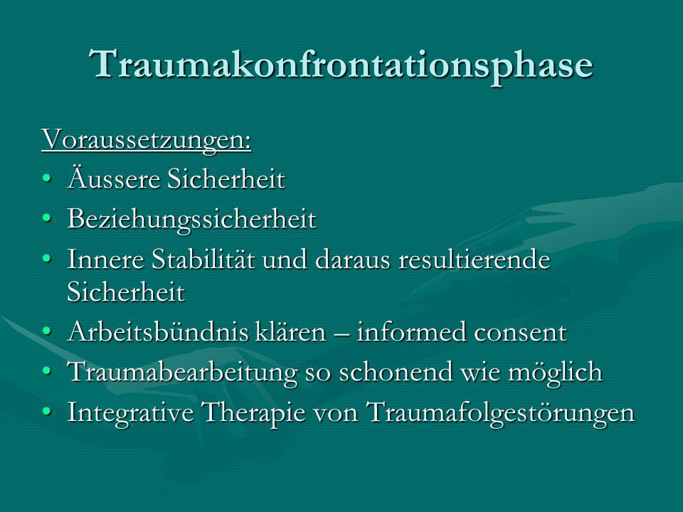 Traumakonfrontationsphase Voraussetzungen: Äussere SicherheitÄussere Sicherheit BeziehungssicherheitBeziehungssicherheit Innere Stabilität und daraus