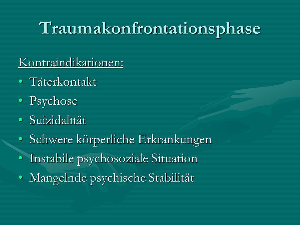Traumakonfrontationsphase Kontraindikationen: TäterkontaktTäterkontakt PsychosePsychose SuizidalitätSuizidalität Schwere körperliche ErkrankungenSchwe