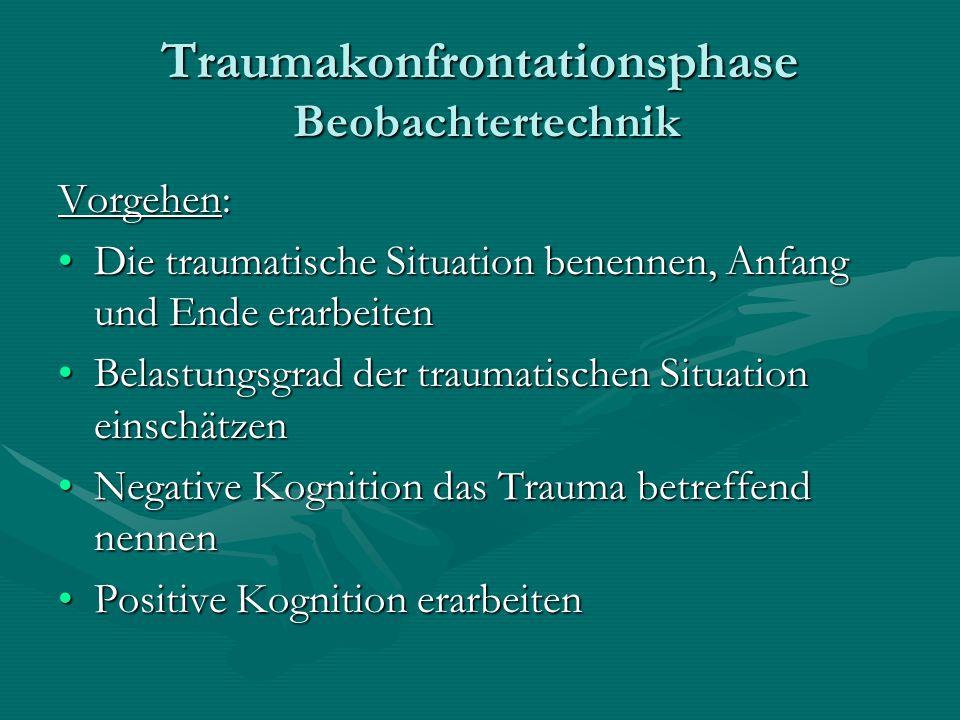 Traumakonfrontationsphase Beobachtertechnik Vorgehen: Die traumatische Situation benennen, Anfang und Ende erarbeitenDie traumatische Situation benenn