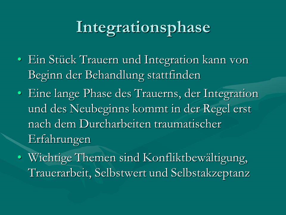 Integrationsphase Ein Stück Trauern und Integration kann von Beginn der Behandlung stattfindenEin Stück Trauern und Integration kann von Beginn der Be