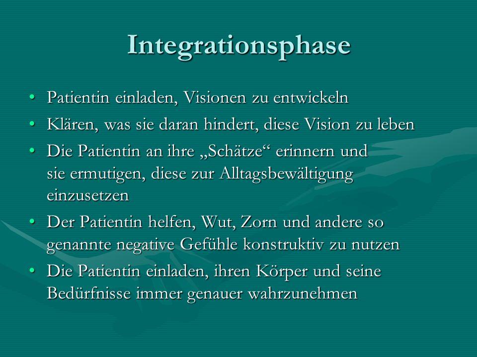 Integrationsphase Patientin einladen, Visionen zu entwickelnPatientin einladen, Visionen zu entwickeln Klären, was sie daran hindert, diese Vision zu