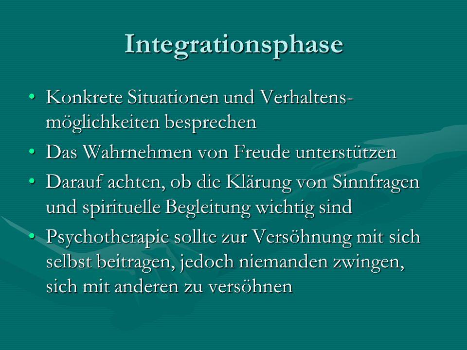 Integrationsphase Konkrete Situationen und Verhaltens- möglichkeiten besprechenKonkrete Situationen und Verhaltens- möglichkeiten besprechen Das Wahrn