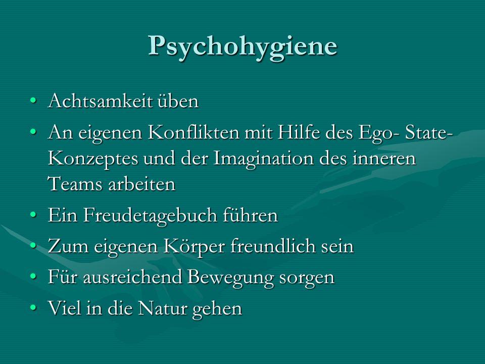 Psychohygiene Achtsamkeit übenAchtsamkeit üben An eigenen Konflikten mit Hilfe des Ego- State- Konzeptes und der Imagination des inneren Teams arbeite