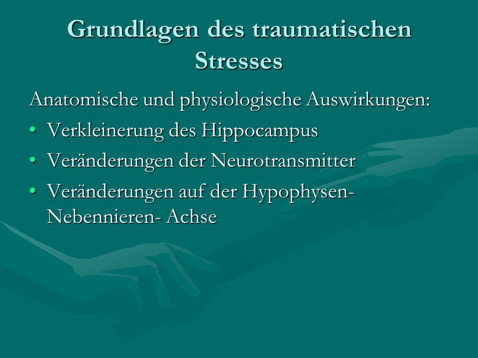 Grundlagen des traumatischen Stresses Anatomische und physiologische Auswirkungen: Verkleinerung des HippocampusVerkleinerung des Hippocampus Veränder
